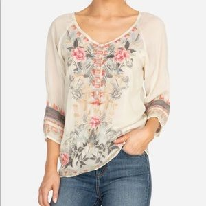 Johnny Was Mari Shell Embroidered Blouse